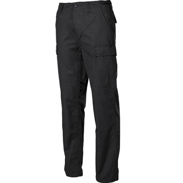 MFH BDU pánské kalhoty Rip-Stop černé - 3XL
