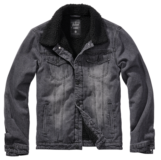 Brandit Sherpa denim bunda s kožešinou, černá - S