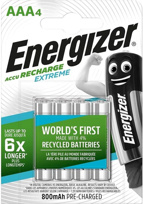 Energizer nabíjecí baterie HR03 Extreme AAA 800mAh FSB4, 4ks