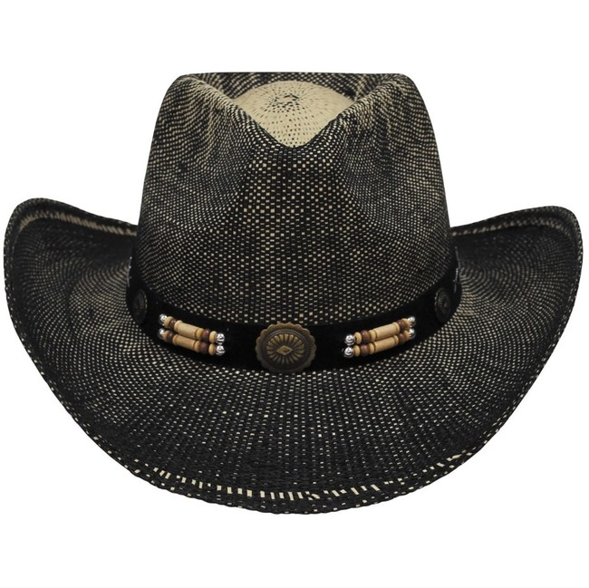Fox Outdoor klobouk slaměný Texas, černo hnědý