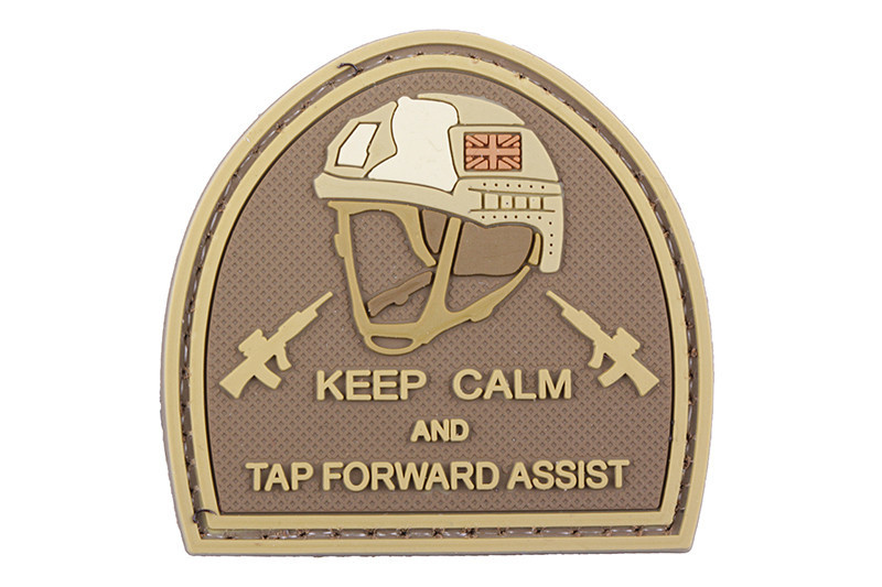GFC Tactical nášivka Keep Calm and Tap Forward Assist,, coyote 5 x 5cm