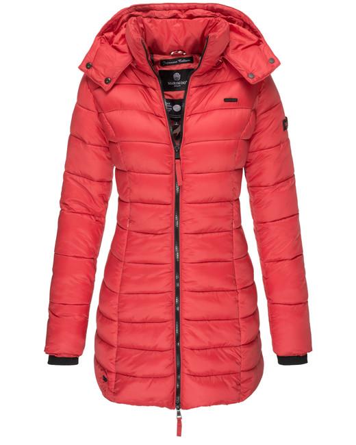 Marikoo ABENDSTERNCHEN Dámský prošívaný kabát s kapucí, červená - XXL