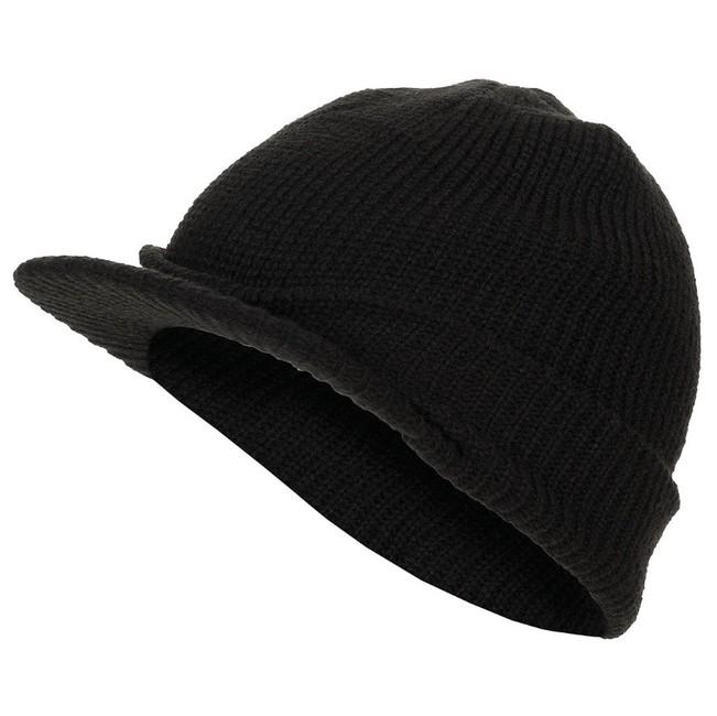MFH Jeep pletená čepice s kšiltem, černá