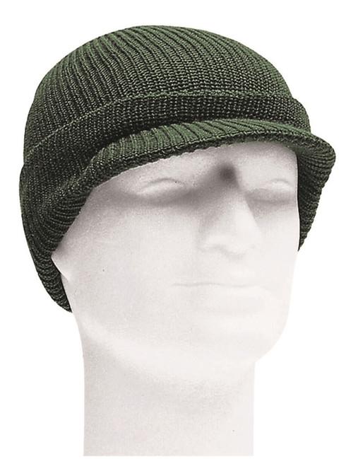 Mil-tec pletená čepice s kšiltem, olivová