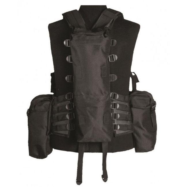 Mil-Tec taktická vesta s 12 kapsami, černá