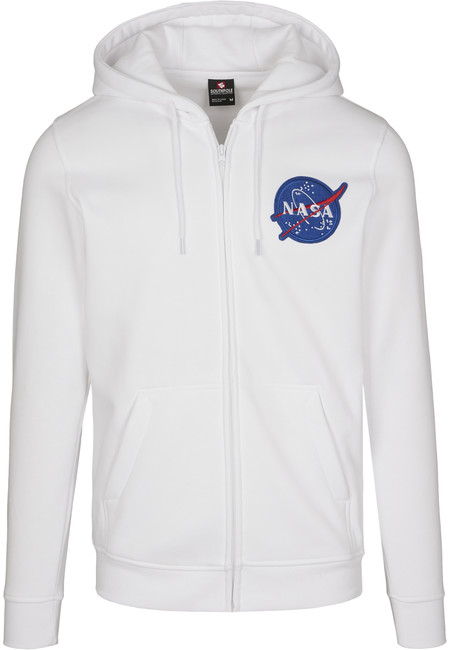 NASA Southpole pánská mikina na zip s kapucí, bílá - L