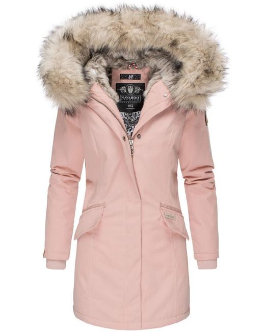 Levně Navahoo Cristal dámska zimná bunda s kapucňou a kožušinou, ružová - M