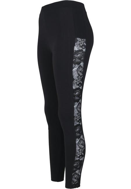 Urban Classics dámské Lace Striped legíny, černé - XXL